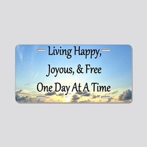 LIVING HAPPY Aluminum License Plate